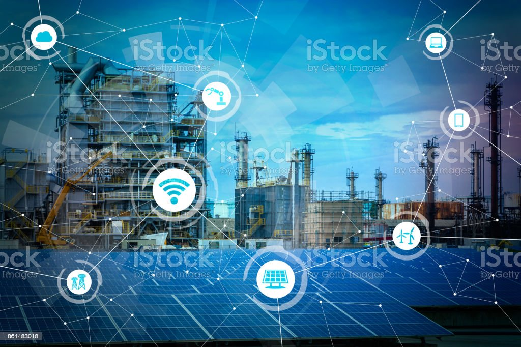 Renewable energy and Internet of Things. Smart factory. Smart energy. Smart grid concept. stock photo