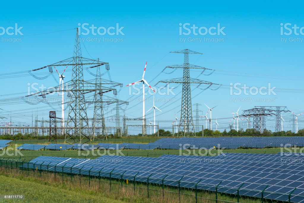 Renewable energy and relay station stock photo