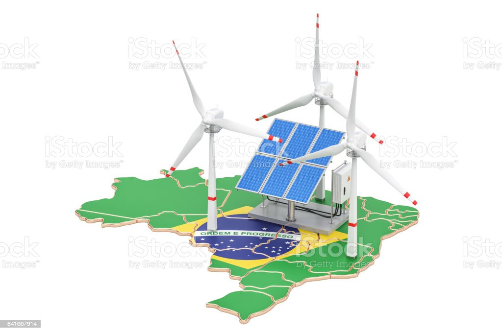 Renewable energy and sustainable development in Brazil, concept. 3D rendering isolated on white background - fotografia de stock