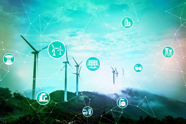 renewable energy concept. abstract mixed media. - rete elettrica foto e immagini stock