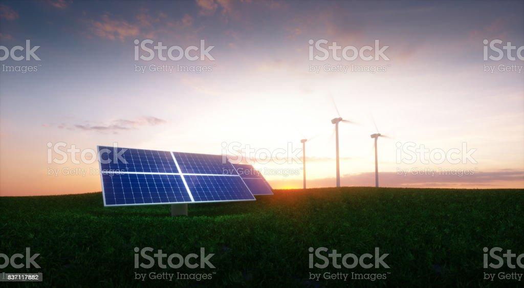 Erneuerbare Energiekonzept - Photovoltaik und Windräder auf einem Rasen morgens eingereicht. 3D Illustration. – Foto