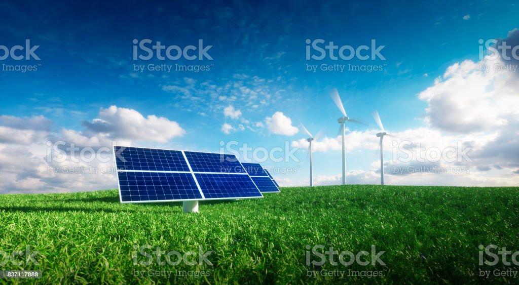 Erneuerbare Energiekonzept - Photovoltaik und Windräder auf einem Rasen abgelegt. 3D Illustration. – Foto
