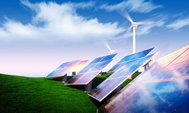 erneuerbare energien konzept - solarstrom stock-fotos und bilder