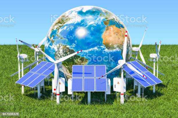 Renewable energy concept solar panels and wind turbines around the picture id947004326?b=1&k=6&m=947004326&s=612x612&h=yosp5dq2ose83mi7hmpg1suod8tfwvevo9ey7dfpiu4=