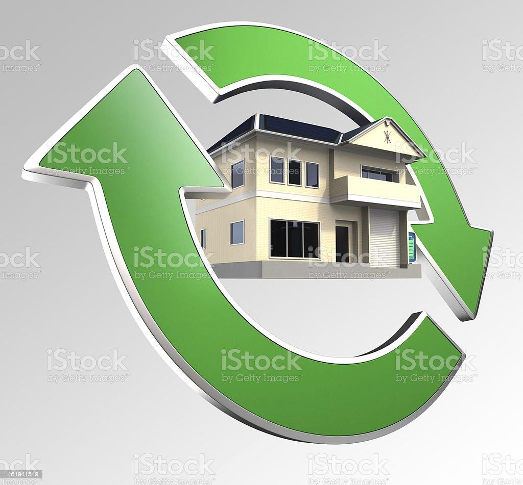Renewable energy house concept stock photo