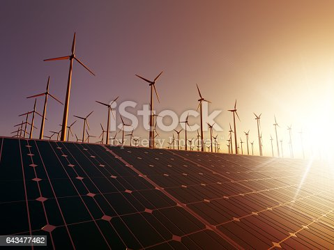 Renewable energy concept. Composition of solar panel on first plane and wind turbine in second. Sunset ambience