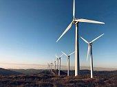 Wind turbines in Navarre (Spain) Renewable energy concept.