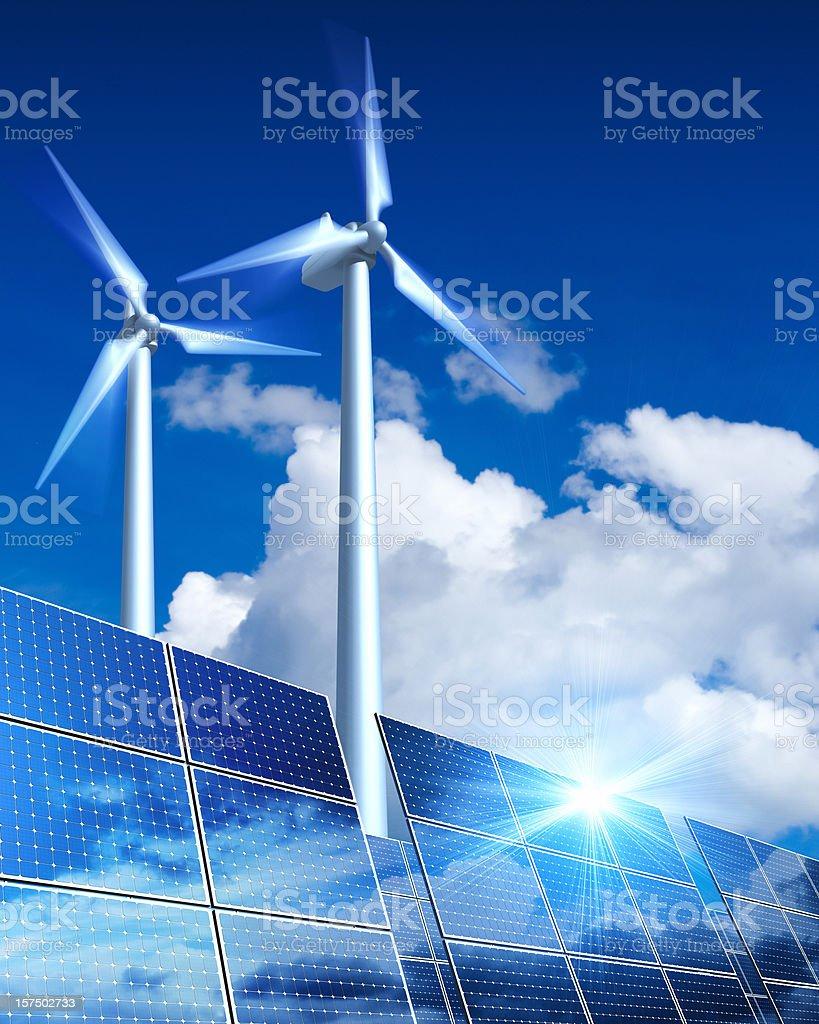 Renewable Energy - Solar Panels and Wind Turbine (XXL) stock photo