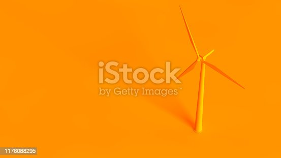 Renewable energy sources conceptual image. Wind turbine isolated on orange background.