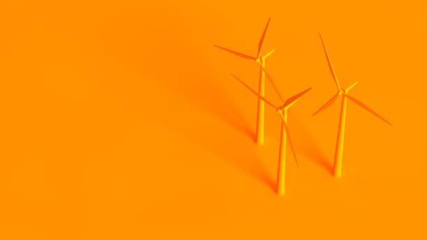 Renewable energy sources conceptual image. Wind turbine isolated on orange background. Renewable energy sources conceptual image. Wind turbine isolated on orange background. brics stock pictures, royalty-free photos & images