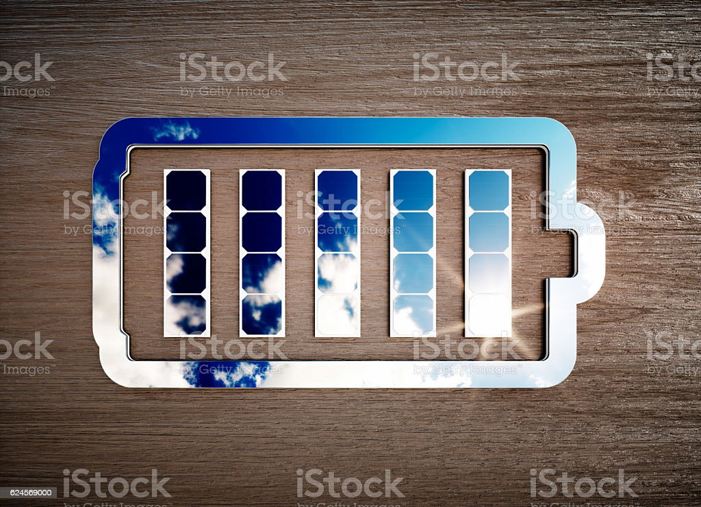 Renewable energy storage sign on dark wooden desk.​​​ foto