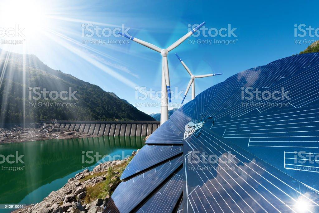 Renewable Energy - Sunlight Wind Rain Renewable Energy - Sunlight with solar panel. Wind with wind turbines. Rain with dam for hydropower Artificial Stock Photo