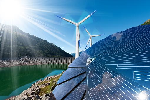 Renewable Energy Sunlight Wind Rain Stock Photo - Download Image Now