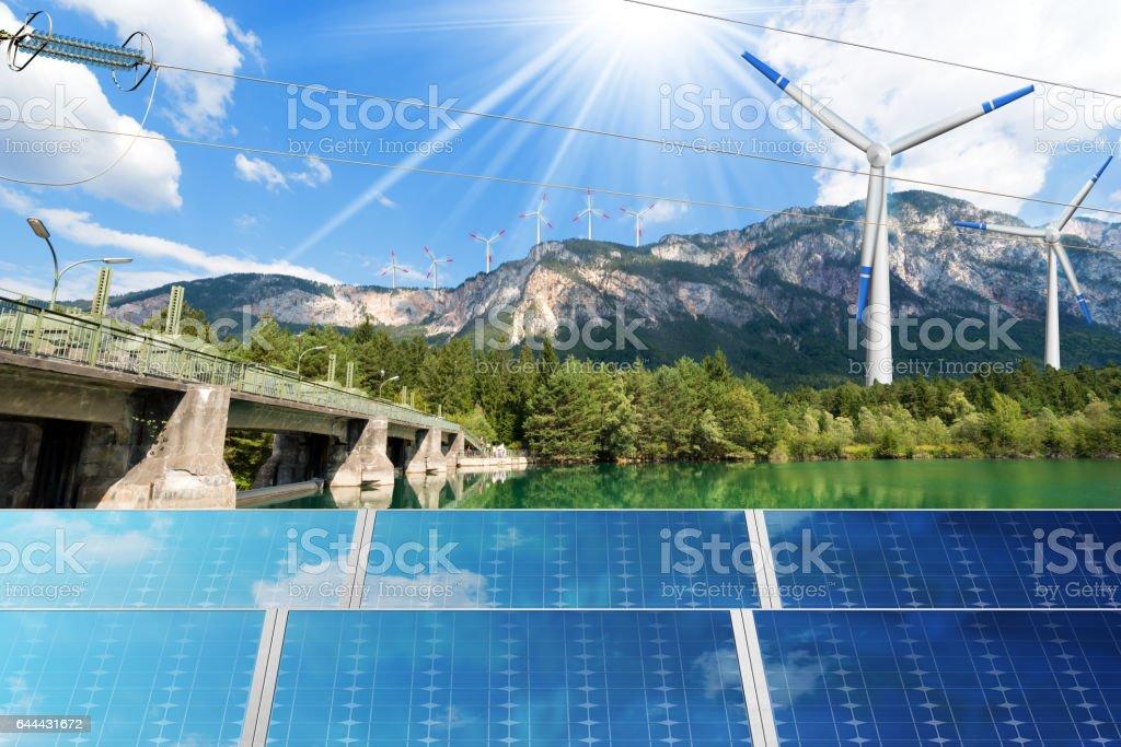 Renewable Energy - Sunlight Wind Water stock photo