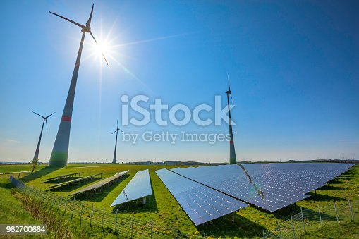 wind turbines and modern solar panels in the rural landscape