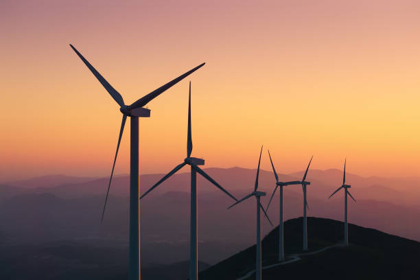 renewable energy with wind turbines - windmolen stockfoto's en -beelden