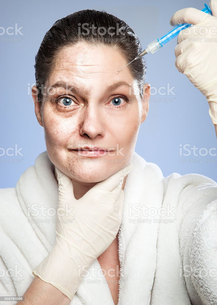 Renewing Myself Botox Injection From Old To Young Stock Photo & More