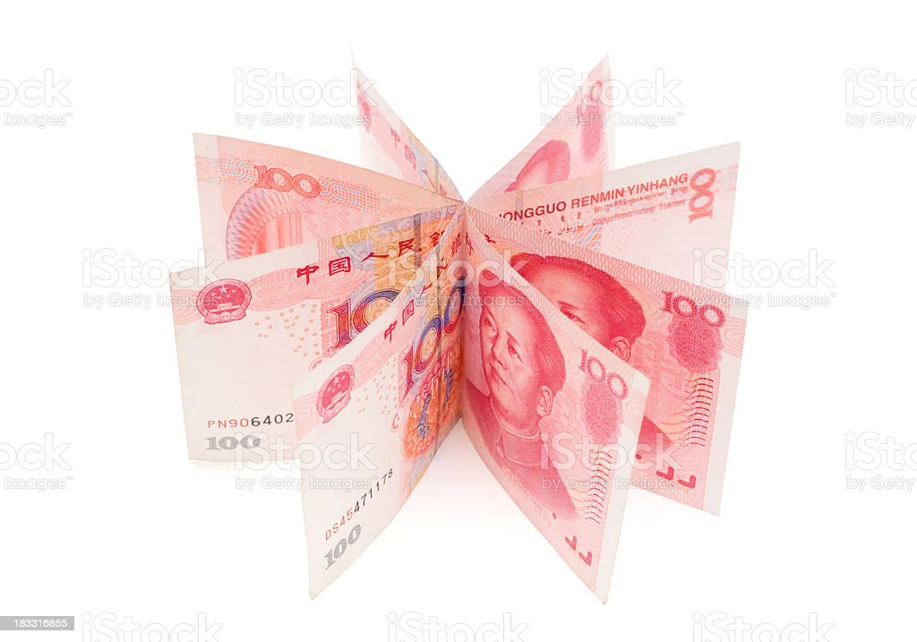 Renminbi (Clipping path) isolated on white background stock photo