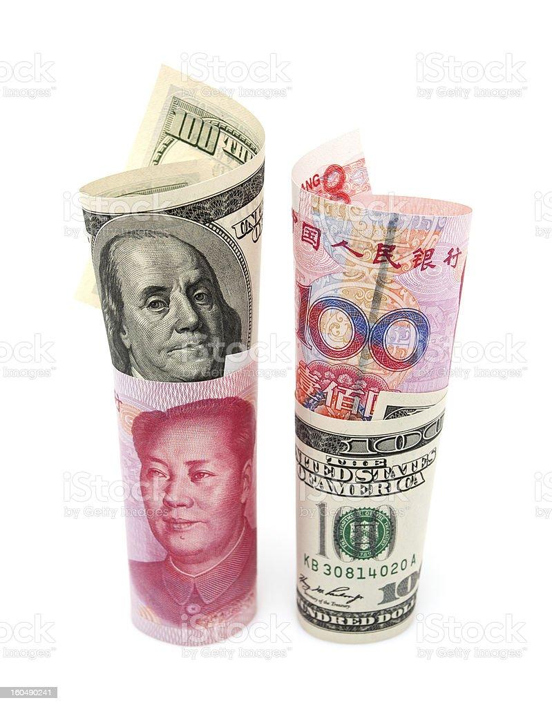 Renminbi & U.S. dollar isolated on white background royalty-free stock photo