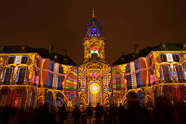 Rennes City Hall illuminated stock photo