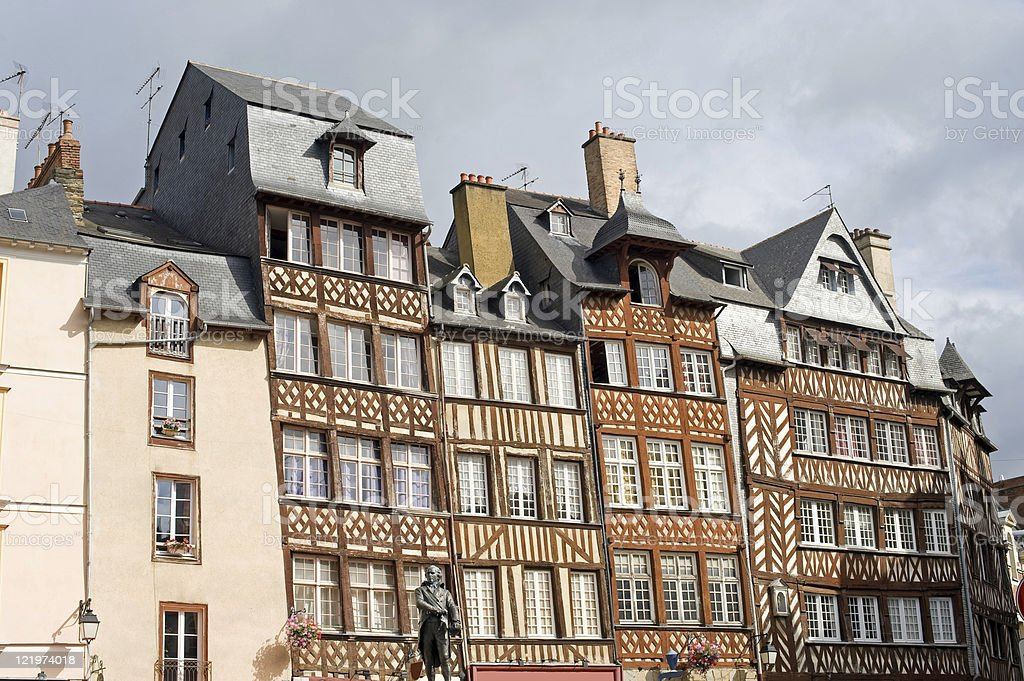 Rennes (Brittany, France): Facade of half-timbered houses in a row royalty-free stock photo