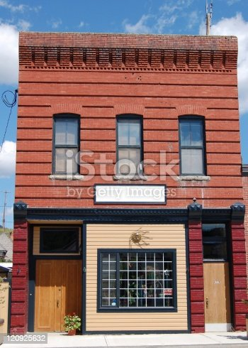 A 100+ year old red brick building in a mountain coal mining town in the Rockies. Rennovated and used as a store.