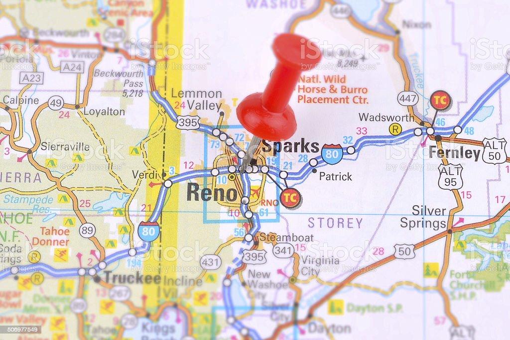 Reno and Map stock photo