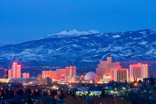 Reno At Night Stock Photo - Download Image Now