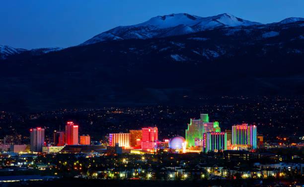 Reno at the base of the Sierra Nevada Mountains stock photo
