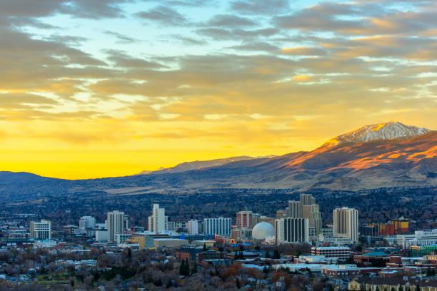 Reno , Nevada at dawn stock photo