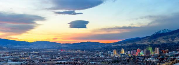 Reno , Nevada at dawn Reno at sunrise nevada stock pictures, royalty-free photos & images