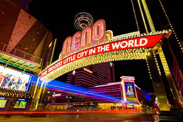 Reno Nevada colors at night stock photo