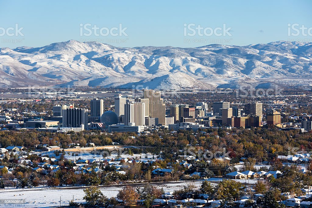 Reno, Nevada downtown during winter stock photo