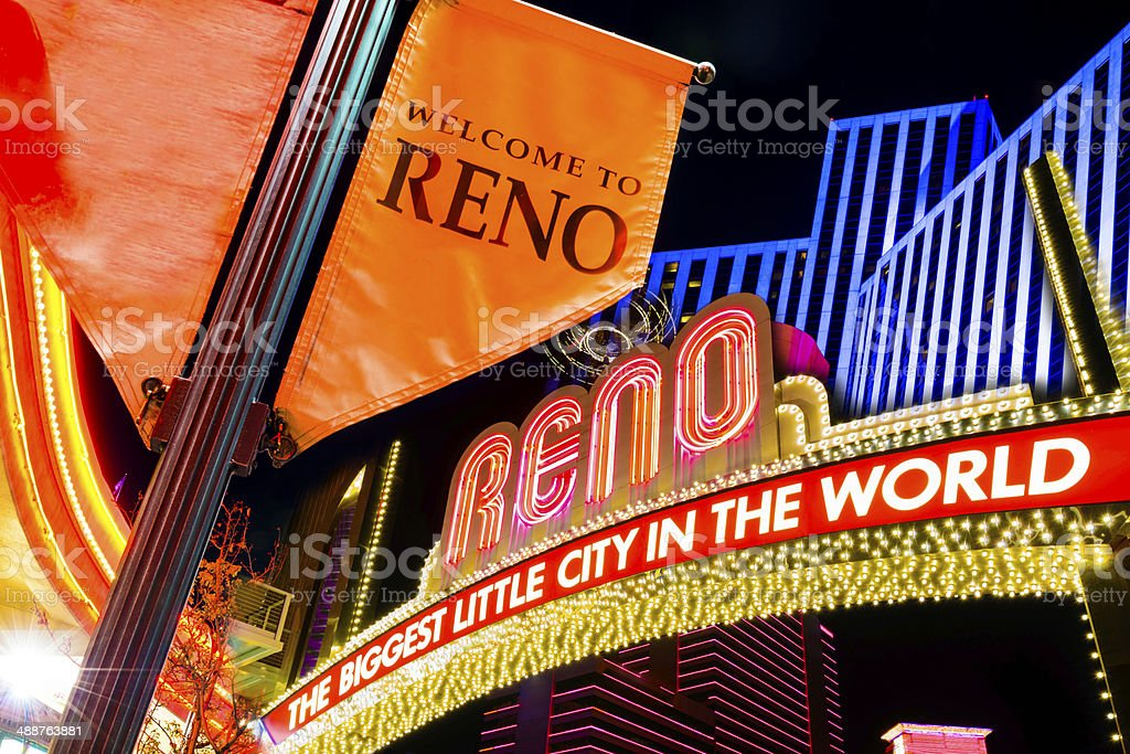 Reno Nevada glittering downtown skyline and colors at night stock photo