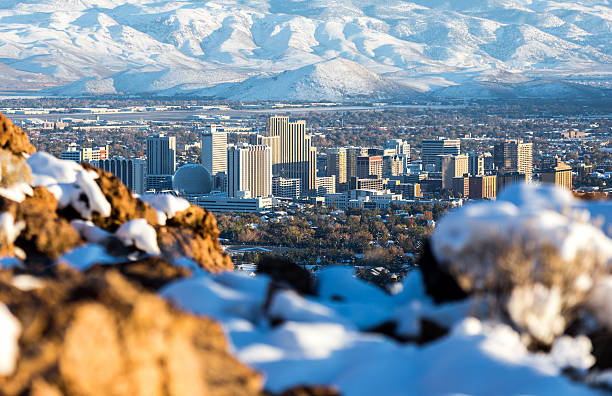 Reno, Nevada hidden behind some snow and rocks Reno, Nevada hidden gem in the mountains with all kinds of seasons nevada stock pictures, royalty-free photos & images