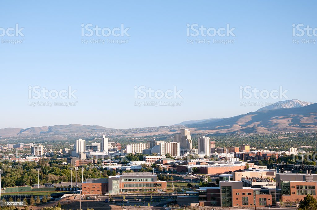 Reno, Nevada Skyline Including University of Nevada Reno stock photo