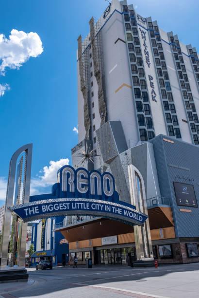 Reno Sign and Whitney Peak Hotel stock photo