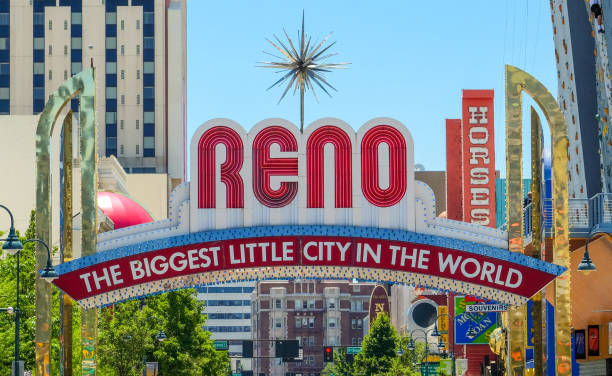 Reno sign Reno arch sign in Reno, Nevada nevada stock pictures, royalty-free photos & images