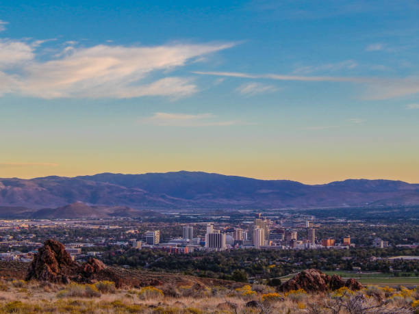 Reno Skyline A sunset over Reno, Nevada nevada stock pictures, royalty-free photos & images