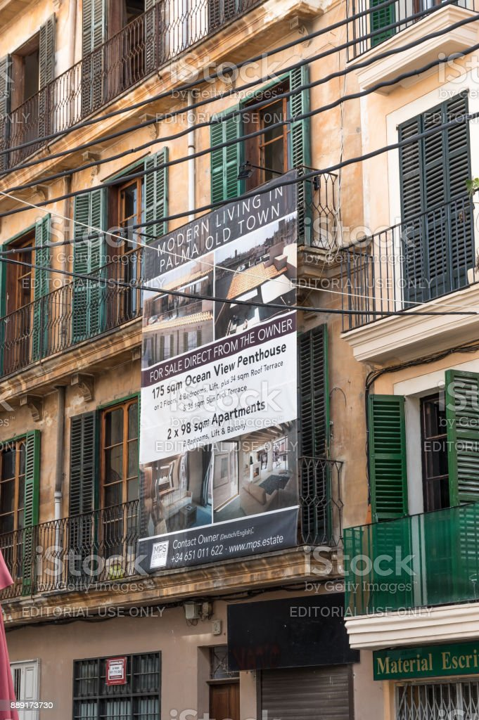 Renovated apartments and businessl units below in the historic centre of Palma de Mallorca stock photo