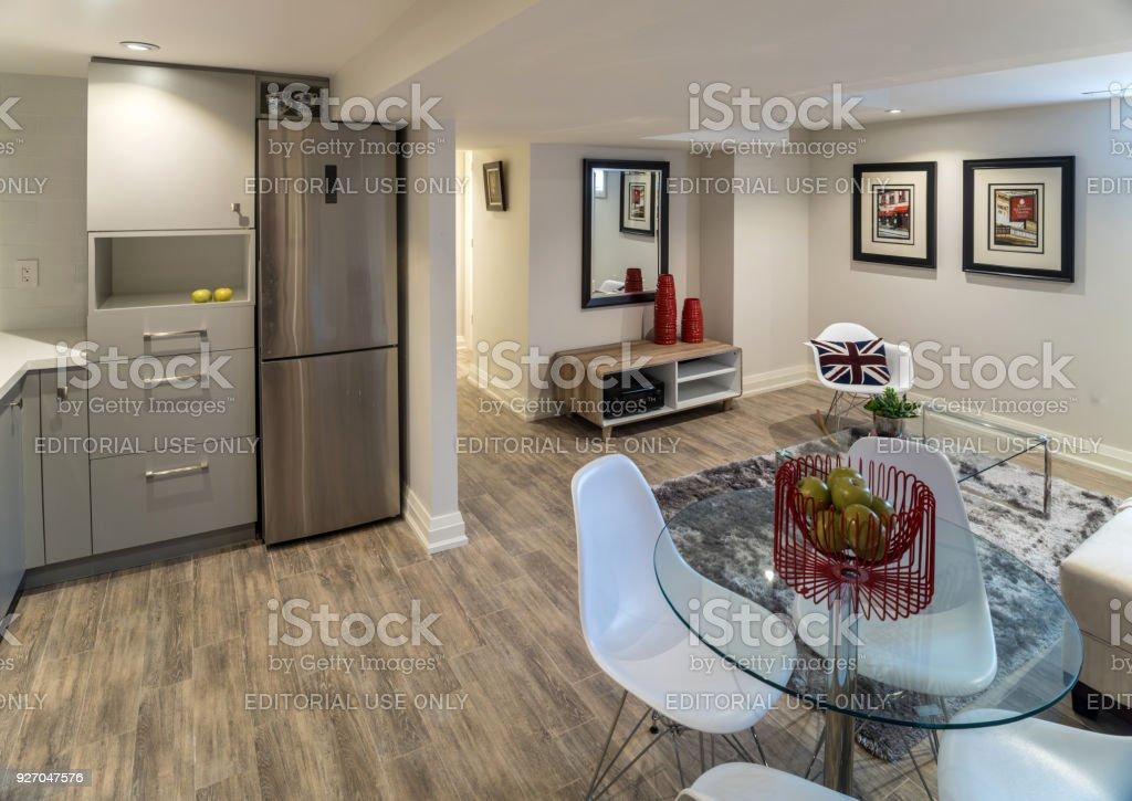 Renovated Basement Apartment stock photo