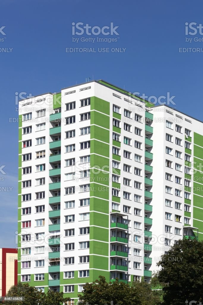 Renovated building in Lichtenberg, East Berlin, Germany stock photo