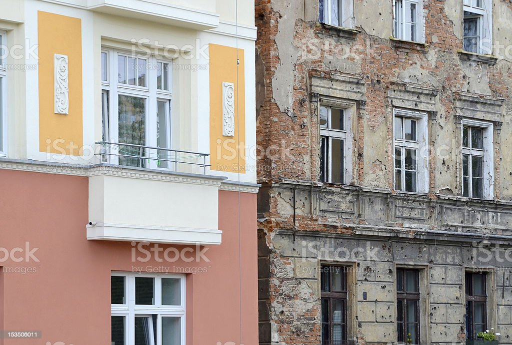 Renovated facade stock photo