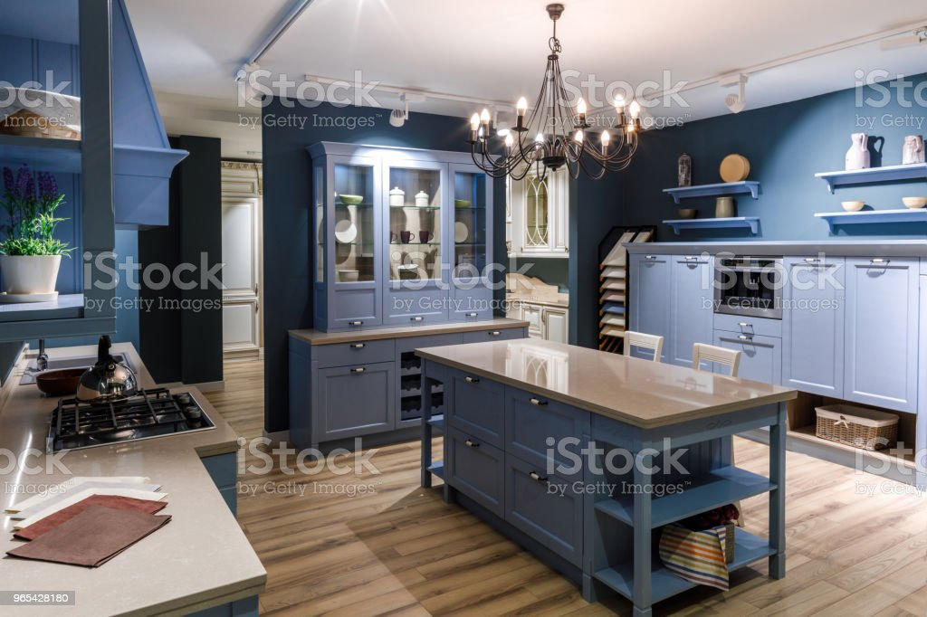 Renovated kitchen interior in blue tones zbiór zdjęć royalty-free