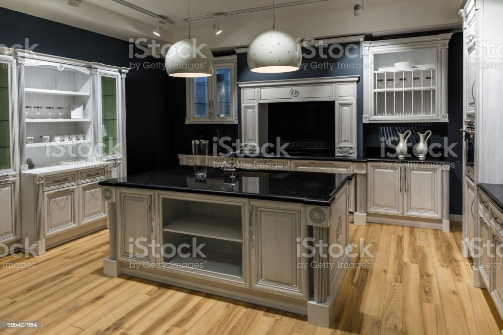Renovated kitchen interior in dark tones zbiór zdjęć royalty-free