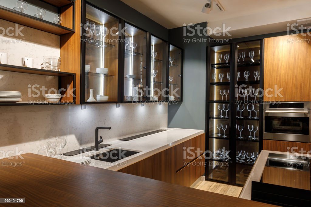 Renovated kitchen interior with glass cabinets zbiór zdjęć royalty-free