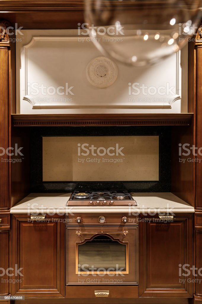 Renovated kitchen interior with stove and oven royalty-free stock photo