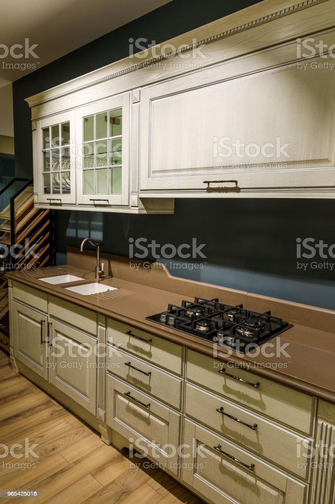 Renovated kitchen interior with stove and sink royalty-free stock photo