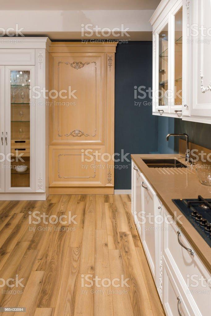 Renovated kitchen interior with stylish details zbiór zdjęć royalty-free