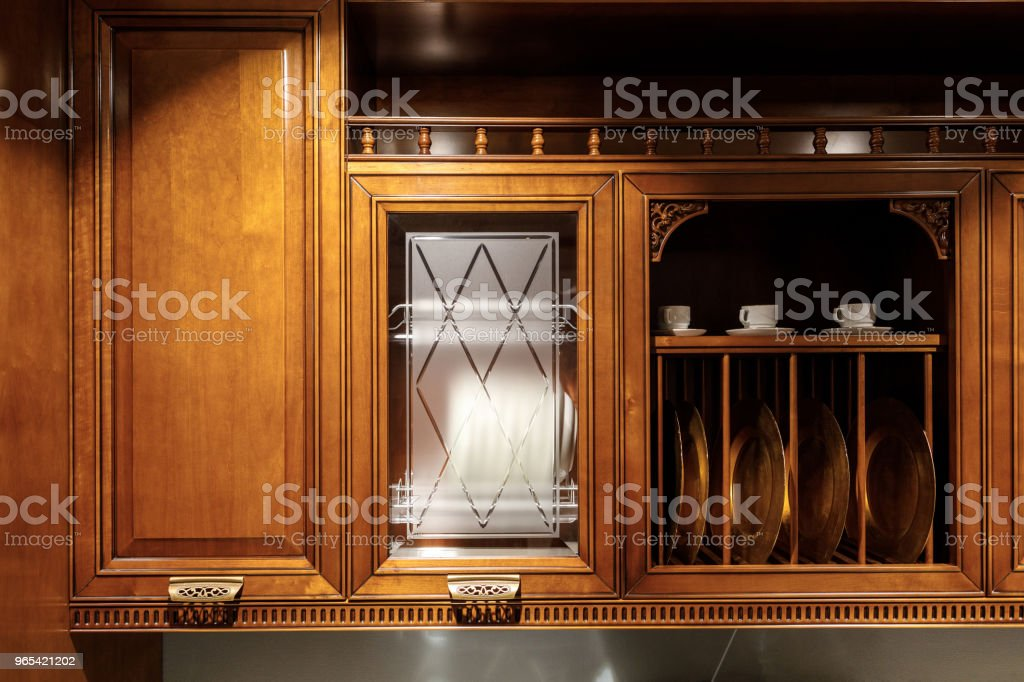 Renovated kitchen interior with stylish wooden details - Zbiór zdjęć royalty-free (Bez ludzi)
